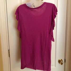 Free People Tops - FREE PEOPLE  Top Fuchsia Flutter Sleeve NWT
